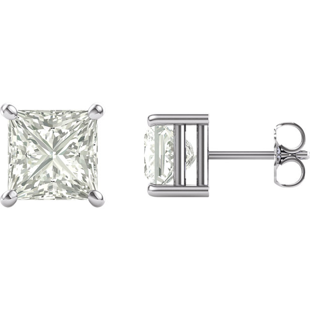 14KT White Gold 7mm Square Forever Classic Moissanite Earrings