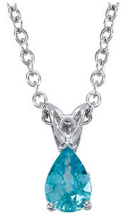 Perfect Jewelry Gift 14 Karat White Gold 7x5mm Blue Zircon 18