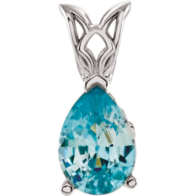 Appealing Jewelry in 14 Karat White Gold 7x5mm Blue Zircon Pendant