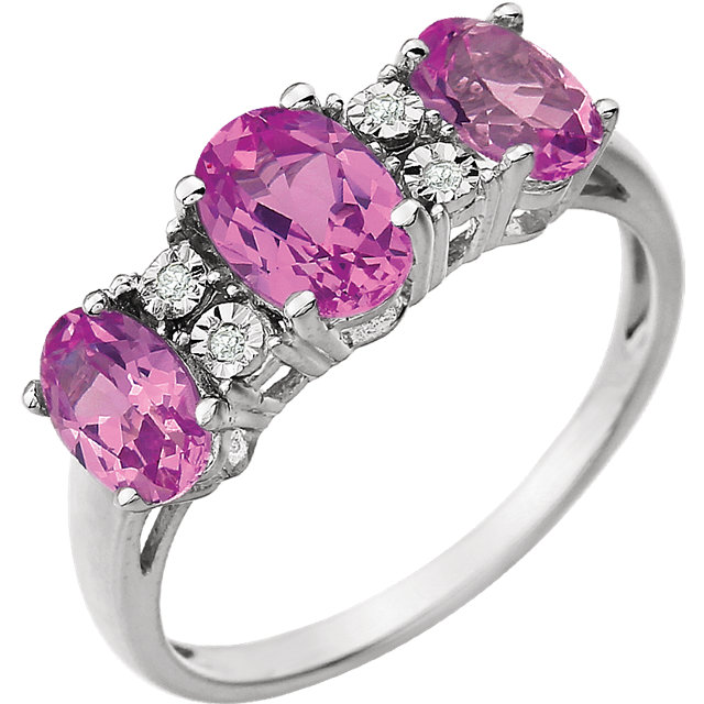 Surprise Her with  14 Karat White Gold 7x5mm Created Pink Sapphire & .02 Carat Total Weight Diamond Ring