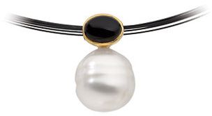 14KT White Gold 7X5mm Onyx & 11mm South Sea Cultured Circle Pearl Pendant