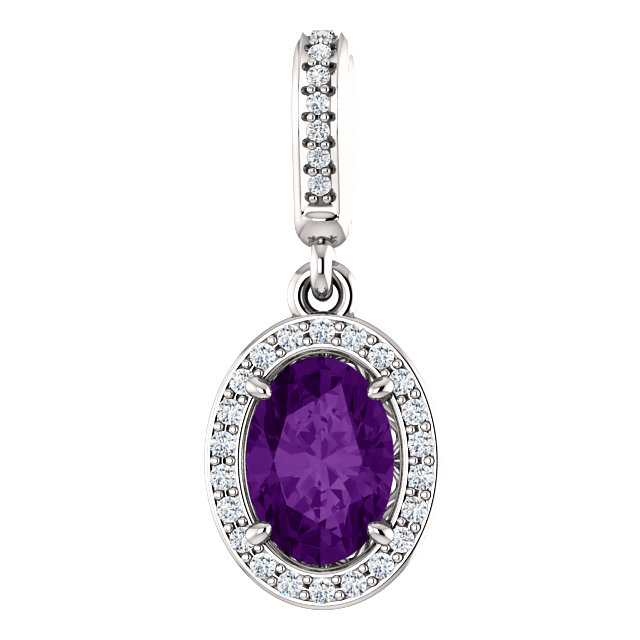 Fine Quality 14 Karat White Gold 7x5mm Oval Amethyst & .08 Carat Total Weight Diamond Pendant