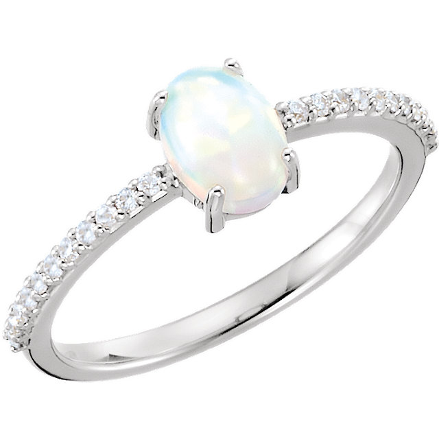 Contemporary 14 Karat White Gold 7x5mm Oval Cabochon Genuine Chatham Created Created Opal & 0.12 Carat Total Weight Diamond Ring