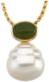 14KT White Gold 7x5mm Oval Nephrite Jade Dangle Pendant