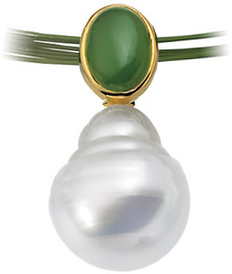 14KT White Gold 7x5mm Oval Nephrite Jade Semi-set Pendant for Pearl