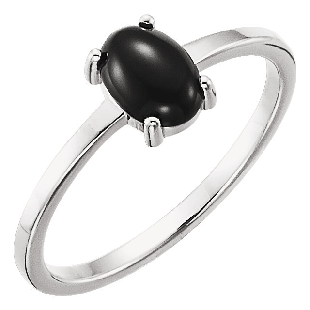 Appealing Jewelry in 14 Karat White Gold 7x5mm Oval Onyx Cabochon Ring