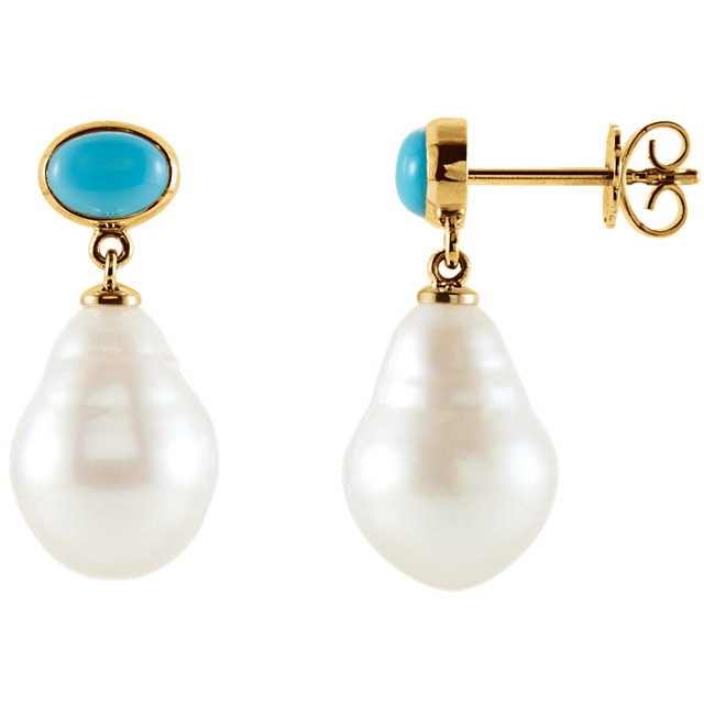 14KT White Gold 7x5mm Turquoise & 11mm South Sea Cultured Pearl Earrings