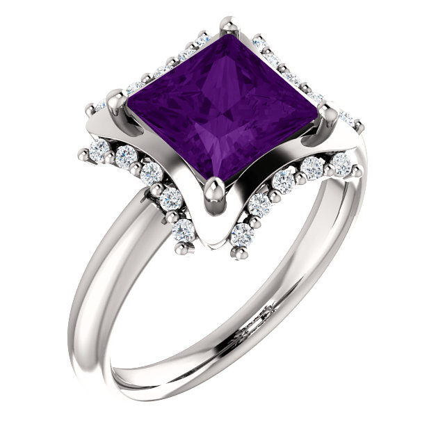 Very Nice 14 Karat White Gold 7x7mm Square Amethyst & 0.17 Carat Total Weight Diamond Ring