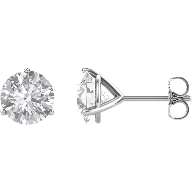 14KT White Gold 8.2mm Round Forever Brilliant Moissanite Earrings