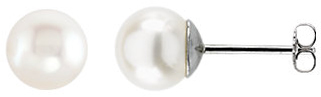 Beautiful 14 Karat White Gold 8-8.5mm Freshwater Cultured Pearl Earrings