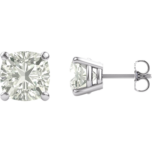 14KT White Gold 8mm Antique Square Forever Classic Moissanite 4-Prong Stud Earrings