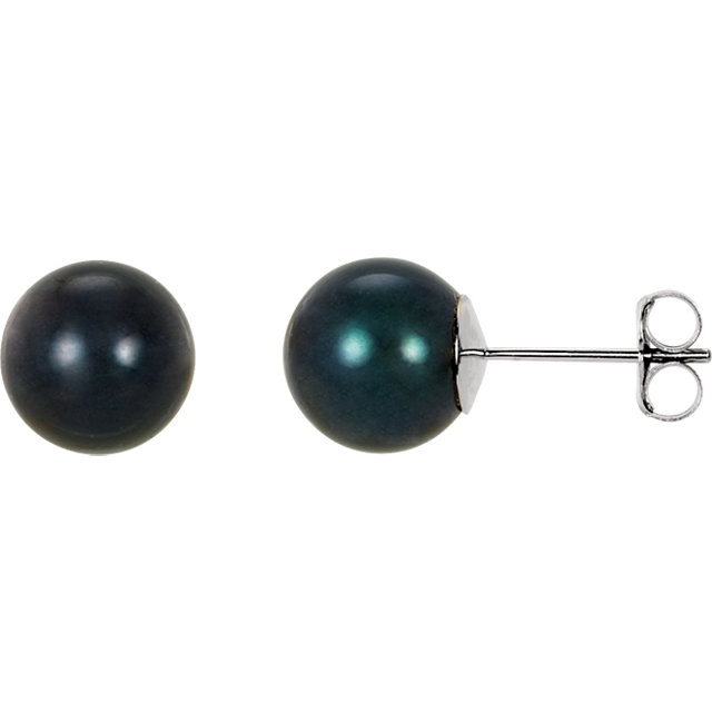 Must See 14 KT White Gold 8mm Black Akoya Cultured Pearl Earrings