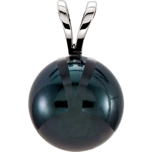 Low Price on 14 KT White Gold Black Akoya Cultured Pearl Pendant