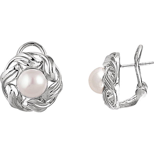 Chic 14 Karat White Gold 8mm Freshwater Cultured Pearl Earrings