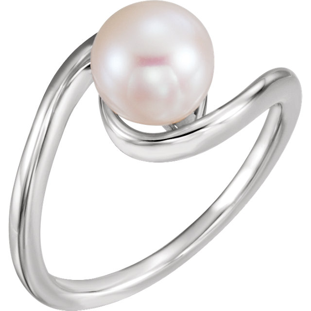 Genuine 14 KT White Gold 8mm Freshwater Cultured Pearl Ring