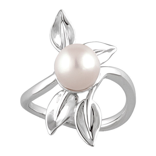 Great Deal in 14 Karat White Gold 8mm Freshwater Cultured Pearl Ring