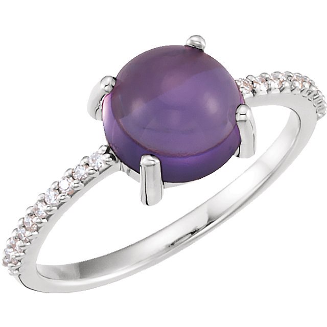 Perfect Jewelry Gift 14 Karat White Gold 8mm Round Cabochon Amethyst & 0.10 Carat Total Weight Diamond Ring