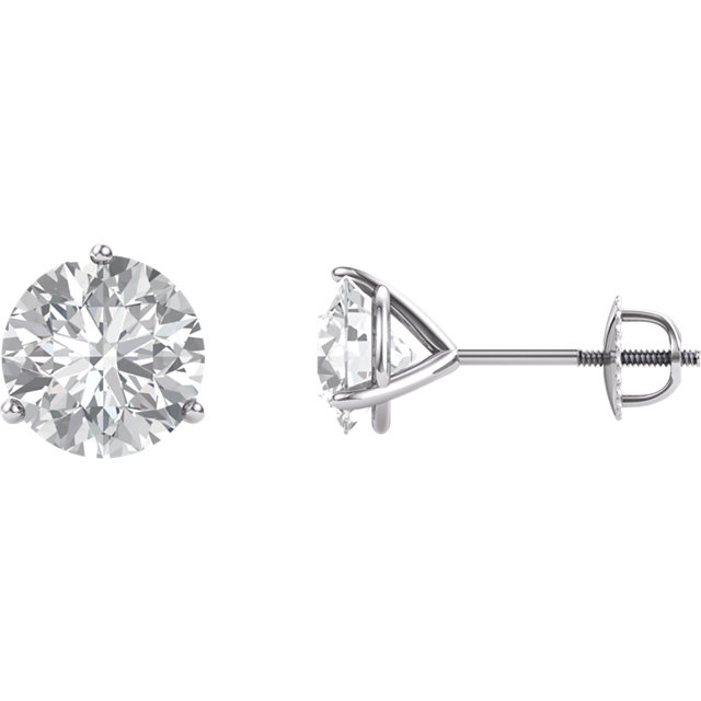 14KT White Gold 8mm Round Forever Brilliant Moissanite Earrings
