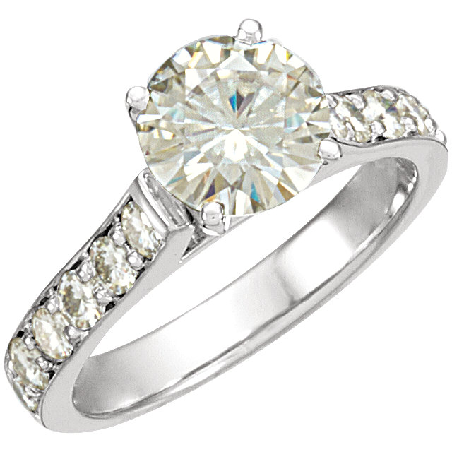 14KT White Gold 8mm Round Forever Classic Moissanite Accented Engagement Ring