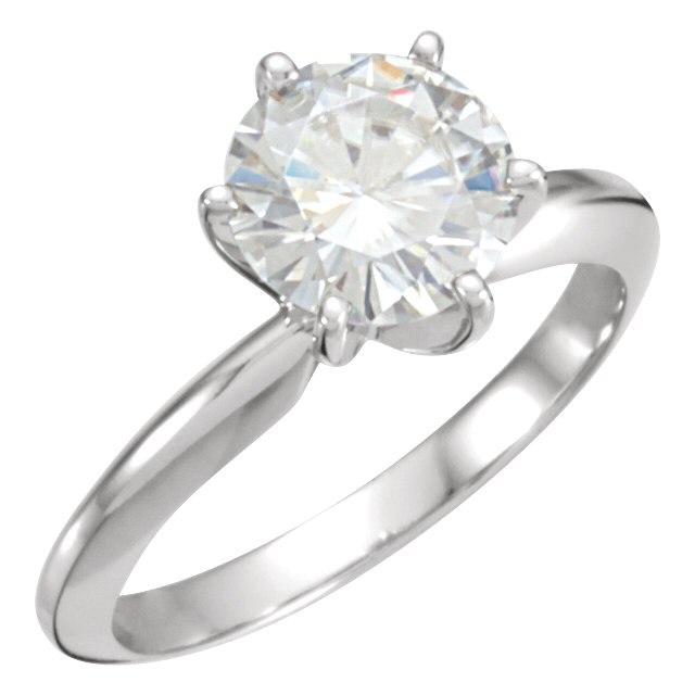 14KT White Gold 8mm Round Forever Classic Moissanite Solitaire Engagement Ring