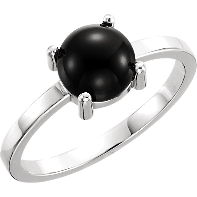 Contemporary 14 Karat White Gold 8mm Round Onyx Cabochon Ring