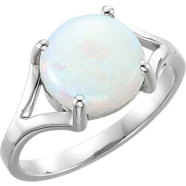 Fine 14 KT White Gold 8mm Round Opal Cabochon Ring