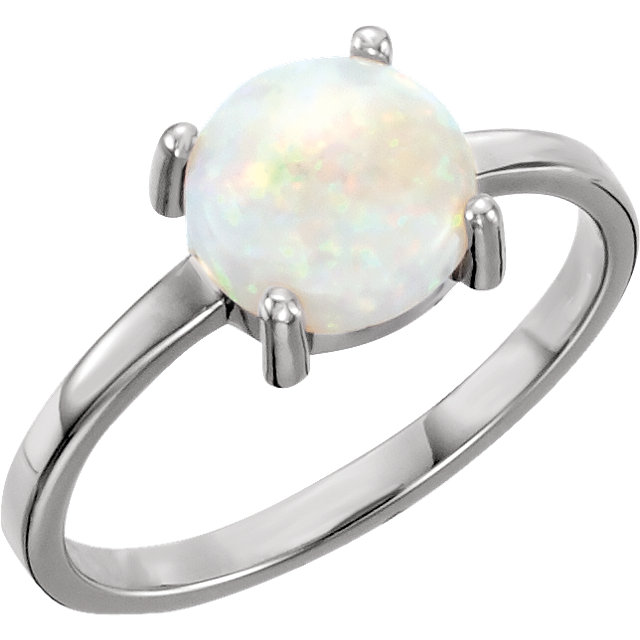 14 KT White Gold 8mm Round Opal Cabochon Ring