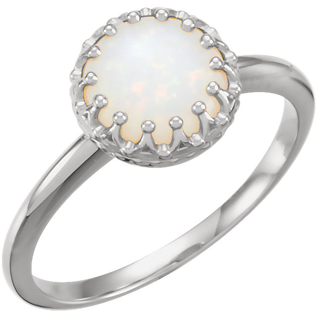 Quality 14 KT White Gold 8mm Round Opal Ring
