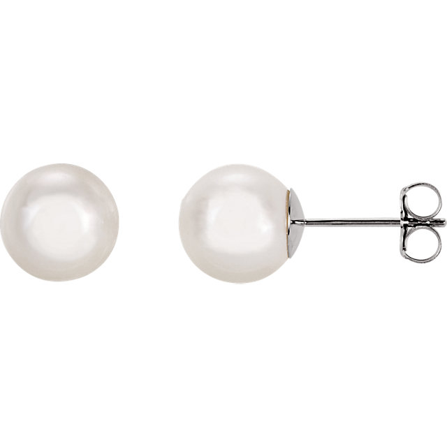 Genuine 14 Karat White Gold 8mm White Akoya Pearl Earrings