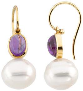 14KT White Gold 8x6mm Cabochon Amethyst & 11mm South Sea Cultured Circle Pearl Earrings