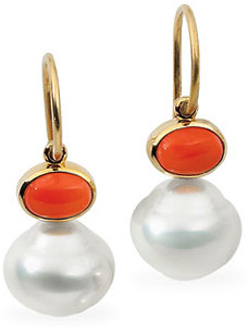 14KT White Gold 8x6mm Carnelian & 11mm South Sea Cultured Pearl Earrings