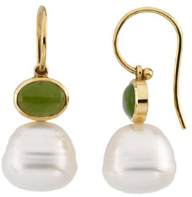 14KT White Gold 8x6mm Nephrite Jade Semi-set Earrings for Pearls