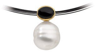 14KT White Gold 8X6mm Onyx & 12mm South Sea Cultured Circle Pearl Pendant