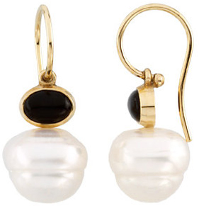 14KT White Gold 8x6mm Onyx Semi-set Earrings for Pearls