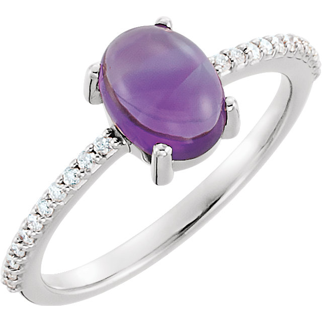 Great Deal in 14 Karat White Gold 8x6mm Oval Cabochon Amethyst & 0.12 Carat Total Weight Diamond Ring