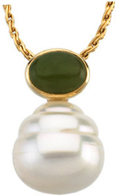 14KT White Gold 8x6mm Oval Nephrite Jade Dangle Pendant