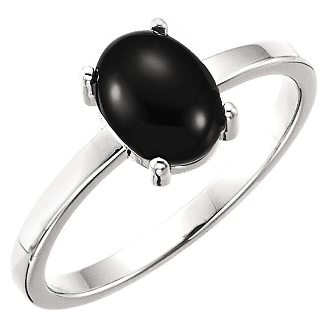 Easy Gift in 14 Karat White Gold 8x6mm Oval Onyx Cabochon Ring