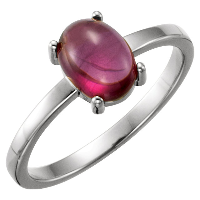 Perfect Jewelry Gift 14 Karat White Gold 8x6mm Oval Rhodolite Garnet Cabochon Ring