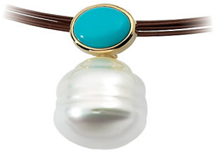 14KT White Gold 8x6mm Turquoise & South Sea Cultured Pearl Pendant