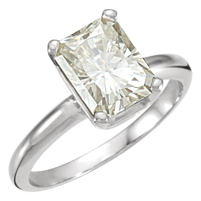 14KT White Gold 9x7mm Emerald Forever Classic Moissanite Solitaire Engagement Ring