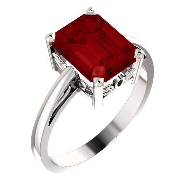 Chatham Created Ruby Ring in Must Have 14 Karat White Gold 9x7mm Scroll Setting Ring Mounting