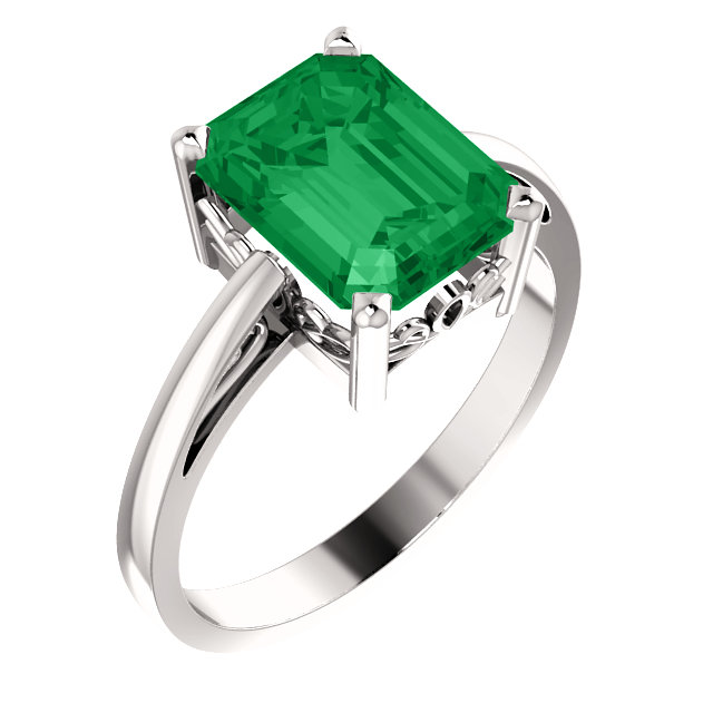 Genuine Chatham Created Emerald Ring in 14 Karat White Gold 9x7mm Scroll Setting Ring Mounting