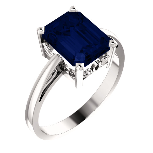 Genuine Chatham Created Sapphire Ring in 14 Karat White Gold 9x7mm Scroll Setting Ring Mounting