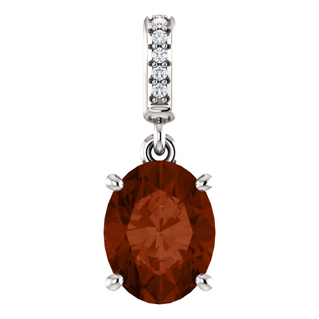 Contemporary 14 Karat White Gold 9x7mm Mozambique Garnet & .03 Carat Total Weight Diamond Pendant