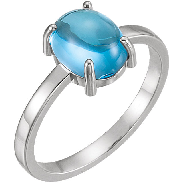 Great Buy in 14 KT White Gold 9x7mm Oval Swiss Blue Topaz Cabochon Ring