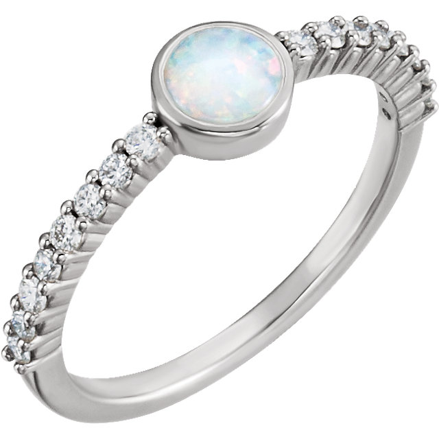 Great Deal in 14 Karat White Gold Opal & 0.25 Carat Total Weight Diamond Ring