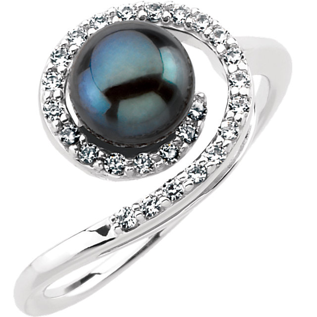 Jewelry Find 14 KT White Gold Akoya Cultured Black Pearl & 0.25 Carat TW Diamond Ring