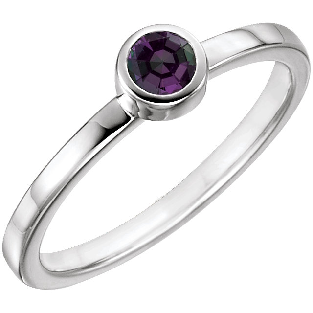 Exquisite 14 Karat White Gold Round Genuine Alexandrite Ring