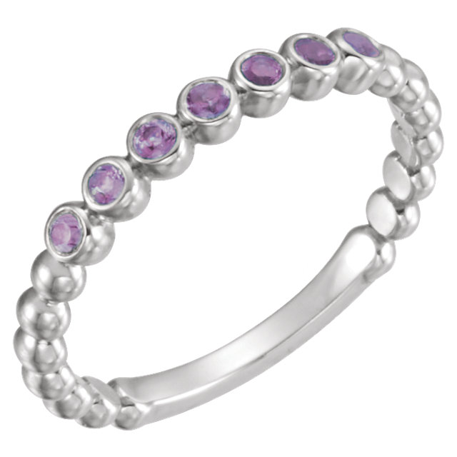 Stunning 14 Karat White Gold Round Genuine Alexandrite Stackable Ring