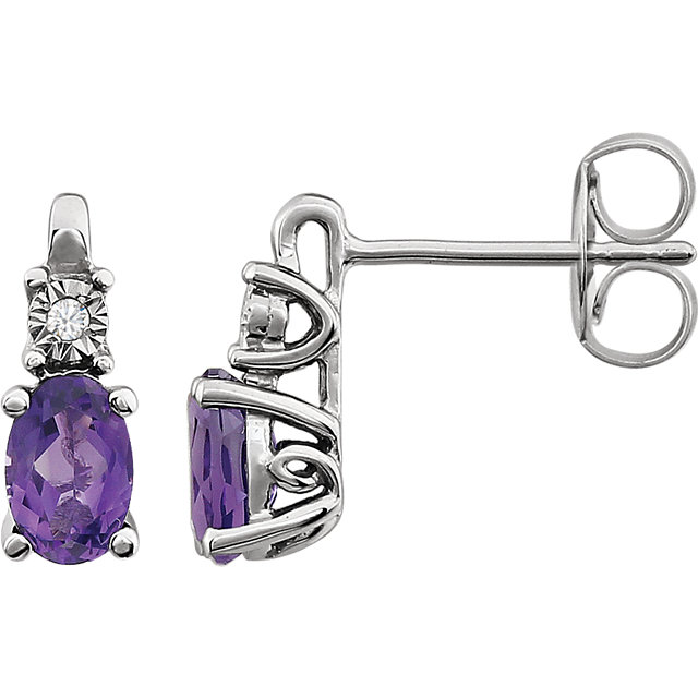 Stunning 14 Karat White Gold Amethyst & .02 Carat Total Weight Diamond Accented Earrings